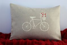 Valentines Day Pillow Cover Linen Hand Stenciled by Inspireren