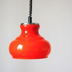 Ancien Suspension Lampe en opaline orange 70's