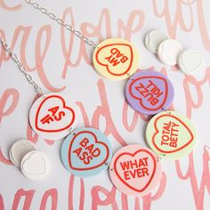 Our Love Hearts Necklace features some of our favourite retro slang phrases. Proceeds from each necklace will go to Rape Crisis London. We Love Heart, Slang Phrases, Laser Cut Jewelry, Rainbow Fashion, Laser Cut Acrylic, Quirky Fashion, Girl Gang, Laser Cutting, How To Look Pretty