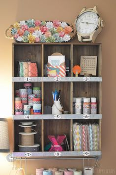"Amy from The Happy Scraps shares her ""Creative Space."" She organizes her crafting gear in both pretty and industrial pieces, it's a fun mix"