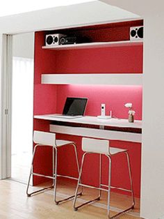 Gonne be my closet paint scheme.  Black desk, red walls and red pendant lights