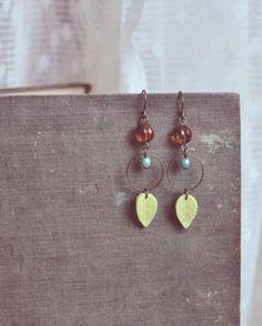 beaded yellow leaf earrings by bellehibou on Etsy, $19.00