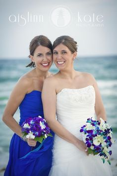 blue bridesmaids dresses, royal blue, blue and purple orchids, blue orchids (pensacola beach weddings)