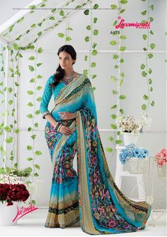 Glam up your wardrobe with this lively Multicolor Georgette Saree that will make you look like a gorgeous diva. Laxmipati Sarees, Georgette Sarees, Kurti, Saree Shopping, Dubai Fashion, Printed Sarees, Daily Wear, Bridal Collection, Print Design