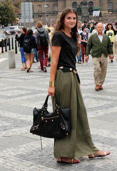 green army maxi skirt+ black top+ black handbag