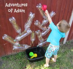 Adventures of Adam DIY Toddler Water Wall. Easy to make water wall using recycled plastic bottles. Great for toddler outside play. Kids Crafts, Toddler Crafts, Infant Activities, Preschool Activities, Outdoor Activities, Water Play Activities, Water Walls, Games For Toddlers, Diy Outside Toys For Toddlers