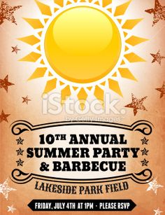 4th of July Barbecue Party royalty free vector postcard Royalty Free Stock Vector Art Illustration