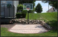Backyard paver basketball court