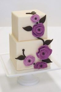 Modern Square Purple Flower Wedding Cake -- perfect size for our total of 12!