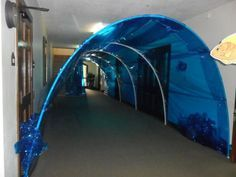 The underwater entrance into the AC after you enter the second glass doors: Vbs Themes, Ocean Themes, Cave Quest Vbs, Submerged Vbs, Everest Vbs, Under The Sea Theme, Vbs 2016, Vbs Crafts, Vacation Bible School