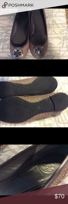 Tory flats These are grayish brown authentic Tory Burch flats. The Tory insignia looks like marbleized plastic. They are made of woven material and are very slightly frayed but still in great condition. Tory Burch Shoes Flats & Loafers
