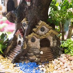 Forest Fairy Garden Miniature Stump Sweet House Resin Planter