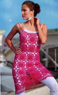 Crochetemoda: Crochet -Tunica ou Vestido Pink ❤️LCD-MRS❤️ with diagrams.