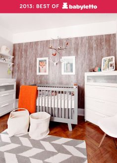 Sweet Sophisticated Nursery on Apartment Therapy featuring a Babyletto Hudson Convertible Crib Fox Nursery, Nursery Crib, Tribal Nursery, Nursery Design, Baby Room Neutral, Nursery Neutral, Woodsy Nursery, Woodland Room, Orange Nursery