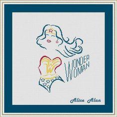 Cross Stitch Pattern Silhouette Wonder Woman comic superhero