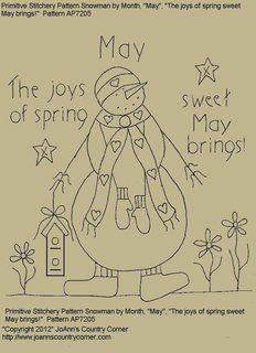 "Primitive Stitchery Pattern Snowman May ""The joys of spring sweet ..."