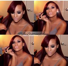 Cyn Santana Dark Red Hair Side Fringe
