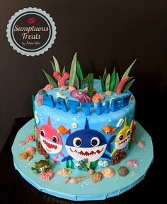Pink Fong Baby Shark Birthday Cake ~ Custom-Made-To-Order Cakes ~ Edible Art. Shark Birthday Cakes, Boys 1st Birthday Cake, Themed Birthday Cakes, Birthday Ideas, Baby Hai, Finding Nemo Cake, Shark Cake, Order Cake, Cakes For Boys