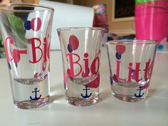 SET of 3 Grand Big / Big / Little Sorority Shot by theplaidpatch