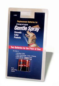 $9.38-$10.99 Gentle Spray Replacement Battery 2-Pack - 2 Pack 6-Volt, Long Lasting Alkaline Batteries. For use in all Premier citronella collar products. For use in the following Premier pet products: Gentle Spray Citronella Anti-Bark Collar The most effective and human solution to nuisance barking. Spray Commander/Virtual Barrier Indoor barrier system that effectively keeps your pet away from of ...