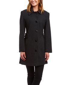 Charcoal Wool-Blend Long Coat by Trilogi #zulily #zulilyfinds