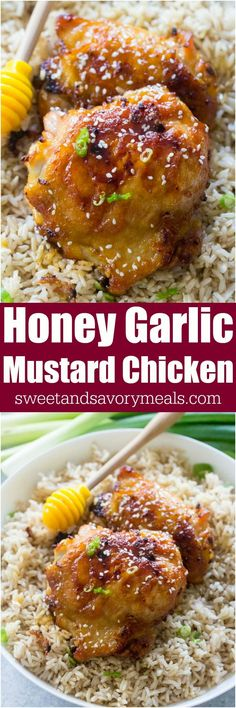 Honey Garlic Mustard Chicken made with just 6 ingredients and in one pan only, makes weeknight dinners easy, delicious and budget friendly.#chicken #dinner #onepanpea