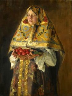 File:A young russian girl by Ivan Kulikov. Russian Folk, Russian Art, Russian Beauty, Russian Culture, Russian Painting, Art For Art Sake, Lany, Art Forms, Female Art