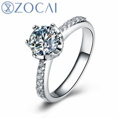 677e5e699 US $18000.89 10% OFF|ZOCAI Real Natural 1.0 CT Certified D E/VVS Round Cut Diamond  Wedding Women Ring 18K White Gold (AU750) W04672-in Rings from Jewelry ...