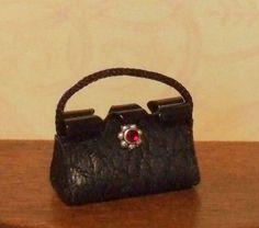 Dollhouse Miniature Black Purse or Handbag  by WhimsyCottageMinis, $9.50