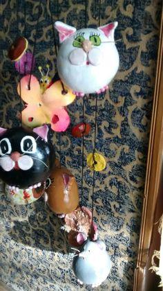 Llamadores de gatos hechos en calabaza