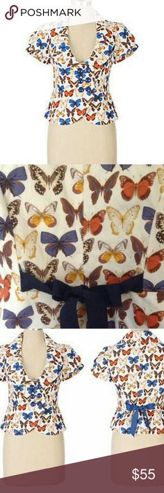 Anthropologie Elevenses Skippers & Sulphurs Jacket Anthropologie Elevenses Butterfly jacket is a collectible treasure enhanced with multi color hues in a white background. Yellow, blue, aqua, gold, reds and copper with navy sash and navy buttons. Two front pockets.  Body is composed of 55% Linen and 45% Cotton; lining is 100% Cotton.  Measurements to follow. Anthropologie Jackets & Coats