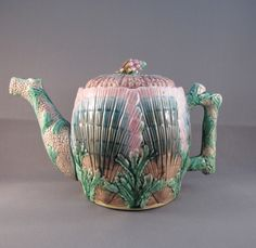 Vintage Antique Etruscan Majolica Shell and Seaweed Teapot Griffin Smith. $419.00, via Etsy.