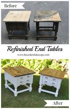She turns these outdated end tables in to gorgeous updated highly sought after Faux Apothecary End tables! Amazing before and after with great pictures!