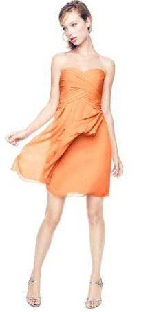 Short Crinkle Chiffon Bridesmaid Dress with Front Cascade Style F14847 #davidsbridal #bridesmaids #beachwedding