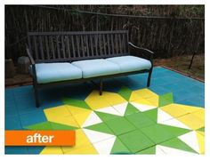 Outdoor spaces: paint $1 cement pavers and set in a quilt block pattern. So many possibilities.