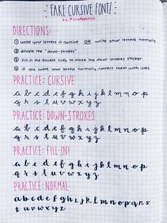 5.7.16+6:19pm // fake-cursive font practice! // hello there! @todoulist and some others were asking about the cursive font people love to write on their notes and journals, so i made a reference page for you to practice with! hope this is helpful! zoom-in for better quality!