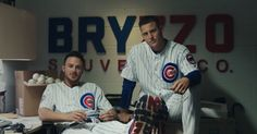 """The """"Bryzzo Souvenir Company"""" — founded by Cubs All-Stars Kris Bryant and Anthony Rizzo — is just for fun . Chicago Cubs Baseball, Baseball Boys, Baseball Players, Softball, Cubs Players, Athlete Quotes, Cubs Win, Christian Yelich, Go Cubs Go"""