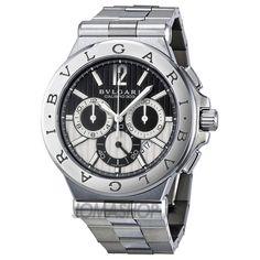 Bvlgari Diagono Chronograph Automatic Black and Silver Dial Mens Watch 101880 $7,686