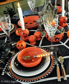 Halloween Fiesta Tablescape..I would buy these dishes just for decoration.