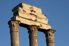 The three corinthian capitals surviving from the temple of Castor and Pollux, Roman Forum, Rome