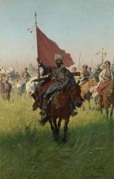 Cossack standard bearer by Józef Brandt