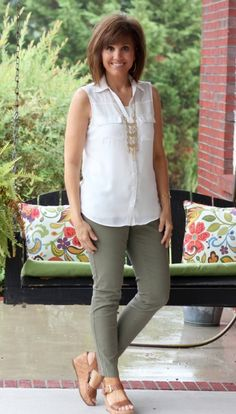 Green pants, neutral top, brown wedges, Kimberly necklace