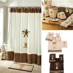 Banana Palm Tree Shower Curtain and Bath Accessories by Avanti