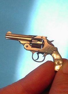 Dollhouse Miniature Unfinished Metal Gun Stubnose 38 Pistol