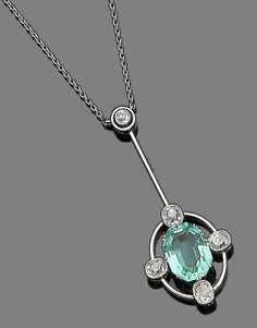 An emerald and diamond pendant necklace, circa 1900  The cut-cornered step-cut emerald set within an openwork surround, highlighted by four millegrain-set cushion-shaped diamonds, suspended from a knife-edge bar and old brilliant-cut diamond surmount, to a trace-link chain, mounted in silver and gold, diamonds approx. 0.50ct total