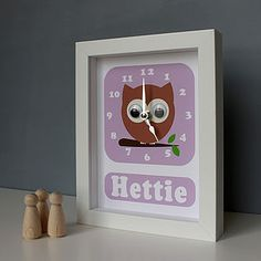 Personalised Framed Animal Clock - children's room accessories