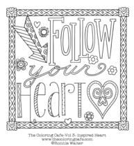 Inspired Heart Free Printable Adult Coloring Page