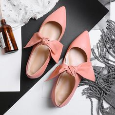 Womens Mary Jean Flats Shoes With Bow