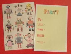 Personalised Child's Robot Party Invites