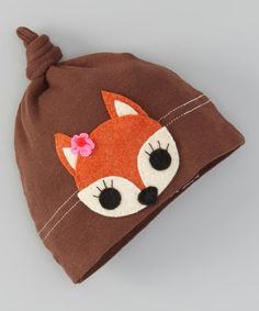 Another great find on #zulily! Brown & Tan Floral Fox Single-Knot Beanie #zulilyfinds